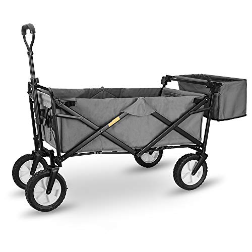 "WHITSUNDAY Collapsible Folding Garden Outdoor Park Utility Wagon Picnic Camping Cart with Replaceable Cover (Standard Size 8"" Wheels with Rear Storage, Grey)"