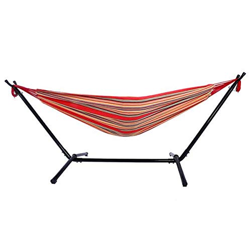 Simonseason Compact Hammock, Portable and Durable Polyester Hammock Set with Steel Stand Perfect for Outdoor, Patio, Camping, Beach, and Festivals - Premium Carry Bags - Red