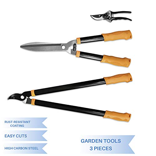 iGarden Garden Tree Tools Set 3 Piece Garden Kit With Lopper, Hedge Shears and Pruner Shears, Tree & Shrub Care Kit