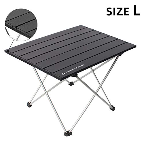 Rock Cloud Portable Camping Table Ultralight Aluminum Camp Table Folding Beach Table for Camping Hiking Backpacking Outdoor Picnic, Size L