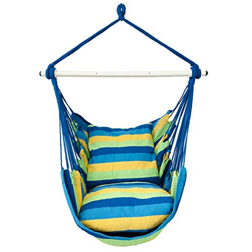 Highwild Hanging Rope Hammock Chair Swing Seat for Any Indoor or Outdoor Spaces - 500 lbs Weight Capacity - 2 Seat Cushions Included (Blue & Green)