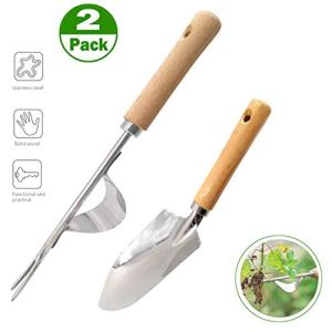 XJunion 2 Piece Garden Tool Set,Stainless Manual Weed Puller Bend-Proof, Includes Hand Weeder Tool and Transplant Trowel,Premium Gardening Tool,Garden Gifts