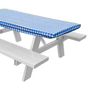 """Sorefy Vinyl Picnic Table Fitted Tablecloth Cover, Checkered Design, Flannel Backed Lining, 28 x 72 Inch (72"""", Blue)"""