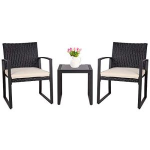 SUNLEI Outdoor 3-Piece Bistro Set Black Wicker Furniture-Two Chairs with Glass Coffee Table (Beige Cushion)