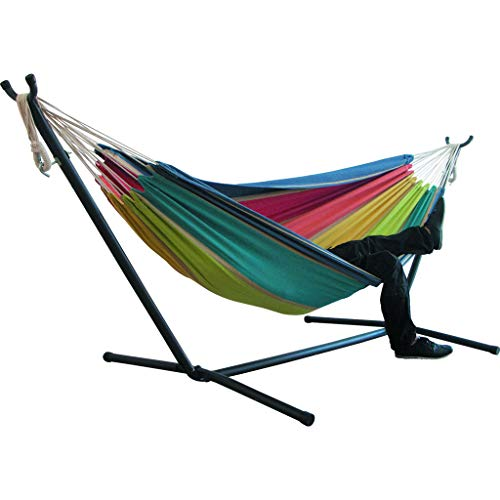 Portable Hammock Bed, Tloowy Double Hammock Swing Bed Without Space Saving Steel Stand +Portable Carrying Case for Backpacking, Travel, Beach, Yard, Patio, Outdoor, Max Weight: 450lb (Multi)