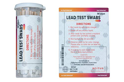 Scitus Lead Test Kit with 30 Testing Swabs Rapid Test Results in 30 Seconds Just Dip in White Vinegar to Use Lead Testing Kits for Home Use, Suitable for All Painted Surfaces
