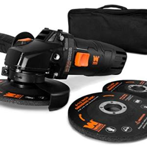 WEN 94475 7.5-Amp 4-1/2-Inch Angle Grinder with Reversible Handle, Three Grinding Discs, and Carrying Case