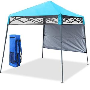 COOSHADE 6x6Ft Compact Lightweight Backpack Canopy Sun Protection Pop-Up Shelter Slant Leg Beach Tent(SkyBlue)