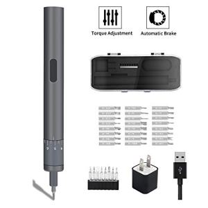 Mini Electric Screwdriver, POWERGIANT Small Adjustable Torque Cordless Screwdriver Set, Rechargable Repair Tool for Phone Watch Camera Laptop