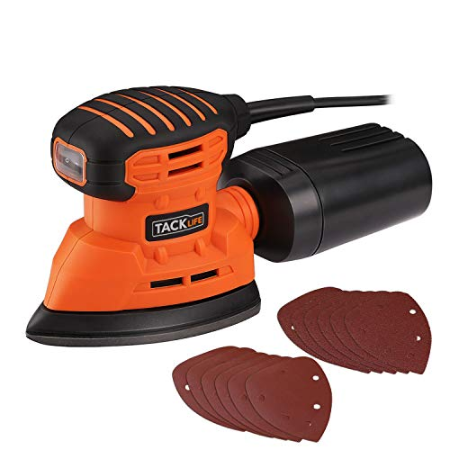 Mouse Detail Sander, TACKLIFE 12000OPM Electric Sander with 12Pcs Sandpapers (80 & 180 Grits), 1.1A(130W) Hand Sander with Dust Collection System and 9.84Ft(3Meter) Power Cord for Home Decoration, DIY
