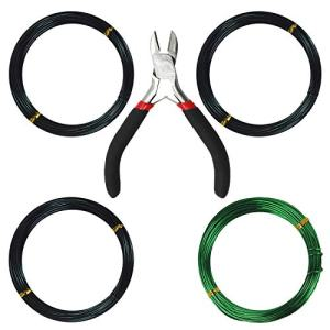 Kebinfen Tree Training Wires for Bonsai Tree, with Bonsai Wire Cutter - Size 1.0 mm/ 1.5 mm/ 2.0 mm (128 Feet Total), Anti-Corrosion and Rust Resistant
