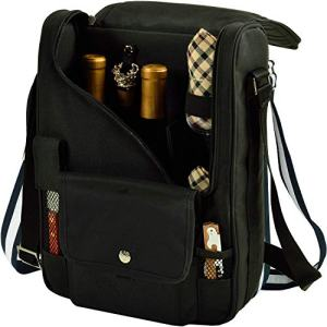Picnic at Ascot - Wine Carrier Deluxe with Glass Wine Glasses and Accessories for Two, Black/Plaid