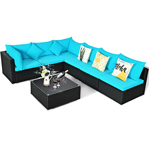 Tangkula 7 Piece Patio Furniture Set, Outdoor Sectional Sofa w/Pillows and Cushions, Wicker Sofa Conversation Set with Coffee Table, Patio Sofa and Tea Table Set for Garden, Lawn