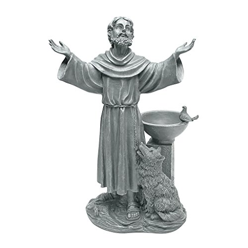 Design Toscano JE14106 St. Francis' Blessing Religious Garden Decor Statue Bath Bird Feeder, 19 Inch, Greystone