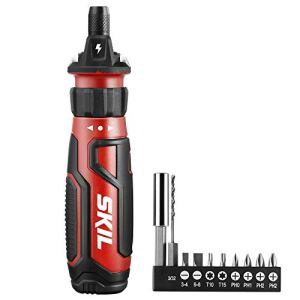 SKIL Rechargeable 4V Cordless Screwdriver with Circuit Sensor Technology, Includes 9pcs Bit, 1pc Bit Holder, USB Charging Cable - SD561201,Red