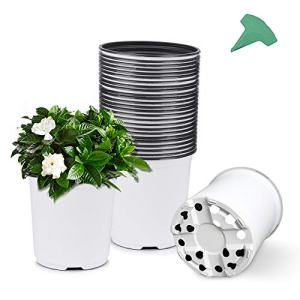 GROWNEER 48 Packs 0.7 Gallon White Flexible Nursery Pot Flower Pots with 15 Pcs Plant Labels, Plastic Plant Container Perfect for Indoor Outdoor Plants, Seedlings, Vegetables, Succulents and Cuttings