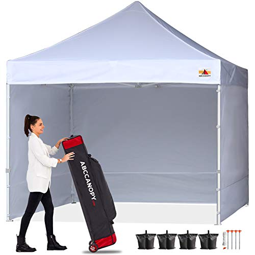 ABCCANOPY Canopy Tent 10x10 Pop Up Canopy Tent Commercial Instant Shade Tent with Upgrade Roller Bag, Bonus 4 Weight Bags, Stakes and Ropes, White Canopy with Sun Wall