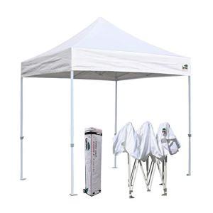 Eurmax 8x8 Feet Ez Pop up Canopy, Outdoor Canopies Instant Party Tent, Sport Canopy Bonus Roller Bag (White)