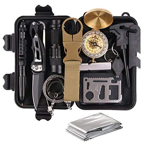 Survival Gear Kits 13 in 1 Outdoor Emergency SOS Survive Tool for Wilderness/Trip/Cars/Hiking/Camping gear - Wire Saw, Emergency Blanket, Flashlight, Tactical Pen, Water Bottle Clip ect,