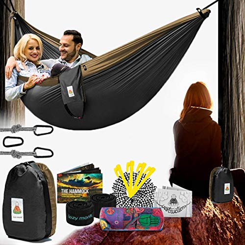 Lazy Monk Camping Hammock   Portable Outdoor Folding Hamock for Travel & Backpacking   Double Two People 2 Person Hammock with Tree Straps   Hamaca para dos - Best Accessories Kit + Bandana