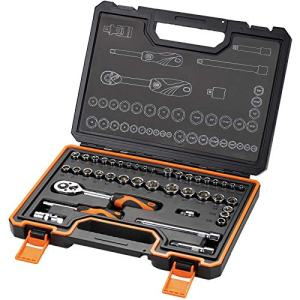 "KENDO 42PCS 1/4''& 3/8"" Dr. Ratchet Socket Wrench Set for Mechanics - Professional CRV SAE & Metric Sockets & Accessories with 72 Tooth Reversible Quick Release Wrench - Premium Carry Case Included"
