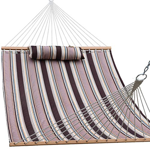 """Lazy Daze Hammocks 55"""" Double Size Quilted Fabric Hammock with Hardwood Spreader Bar and Poly Head Pillow Stylish for Two Person, Brown Stripes"""
