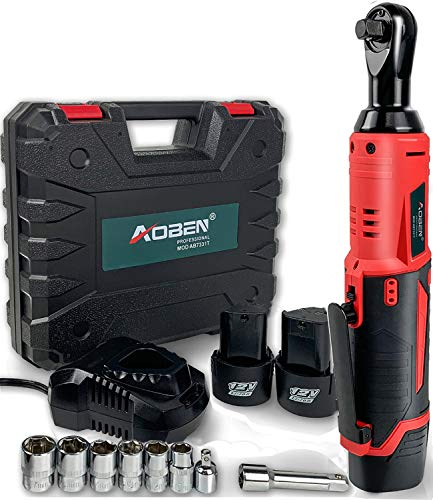 """Cordless Electric Ratchet Wrench Set, AOBEN 3/8"""" 12V Power Ratchet Tool Kit with 2 Packs 2000mAh Lithium-Ion Battery and Charger"""