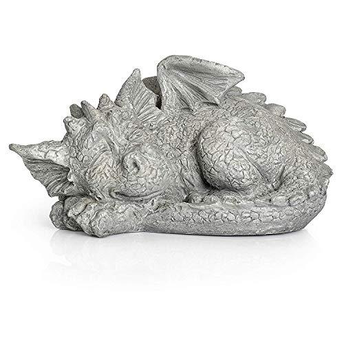 Besti Decorative Outdoor Dragon Garden Statue - Cold Cast Ceramic Statue | Lawn and Yard Decoration | Weather-Resistant Finish