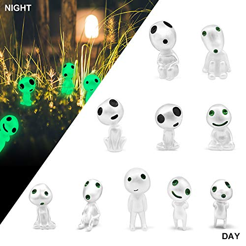 MONOLED Garden Statue, Garden Gnome Statue Figurine, 10 PCS Princess Mononoke Tree Spirit Luminous Outdoor Lawn Decor Gardening Potted Decoration Figurine for Patio, Balcony, Yard, Lawn Ornament