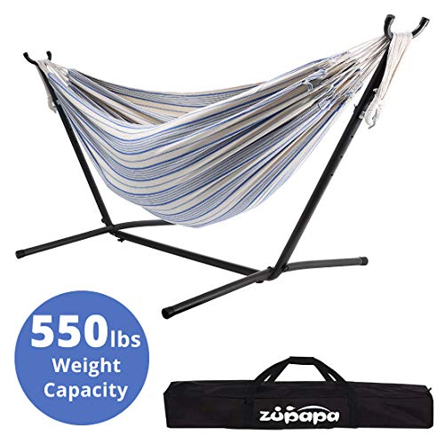 Zupapa Space Saving Hammock Stand Set, Heavy Duty 550LBS Capacity Accommodates 2 People Hammock and Frame, Portable with Carry Bag for Outdoor Indoor Use – Bubble Fantasy