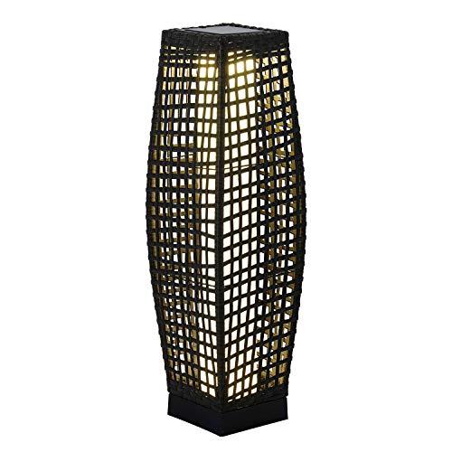 Grand Patio Outdoor Solar Powered Resin Wicker Floor Lamp, Weather-Resistant Deck Light, for Garden or Porch (Black)
