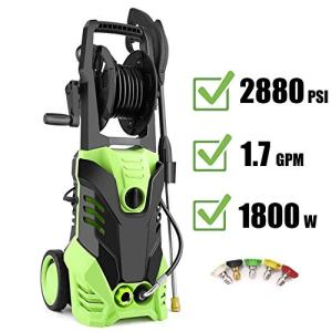 Homdox 2880 PSI Power Washer, 1.7 GPM Electric Pressure Washer, High Pressure Washer with Hose Reel, 5 Nozzle Adapter,HM5217