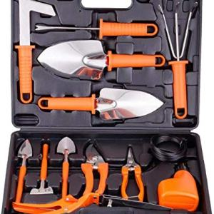 Yafei Gardening Tools Set,14 Pieces Stainless Steel Garden Hand Tool, Gardening Gifts for Women,Men,Gardener,Sprayer,Gardening Gifts for Women & Men (Orange)