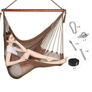 Greenstell Large Caribbean Hammock Hanging Chair with Hanging Kits and 150cm Strap,Swing Chair Comfortable Durable,100% Soft-Spun Polyester,for Indoor,Outdoor,Home,Patio,Yard,Garden 40 Inch (Mocha)