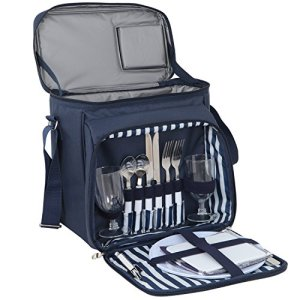 ZENY Picnic Backpack Basket Bag w/Cooler Compartment, Detachable Bottle/Wine Holder, Fleece Blanket, Plates and Cutlery Set