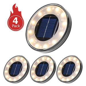 Tomshine Disk Lights, Solar Ground Lights Outdoor Warm White, Waterproof 12 LED Solar Lights, Outdoor Walkway Deck for Patio Pathway Lawn Yard Driveway(4 Pack)