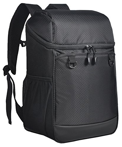 MIER 24 Can Insulated Backpack Cooler Large Soft Lunch Backpack for Picnic, Hiking, Travel, Beach, Park or Day Trips, Leakproof, Black