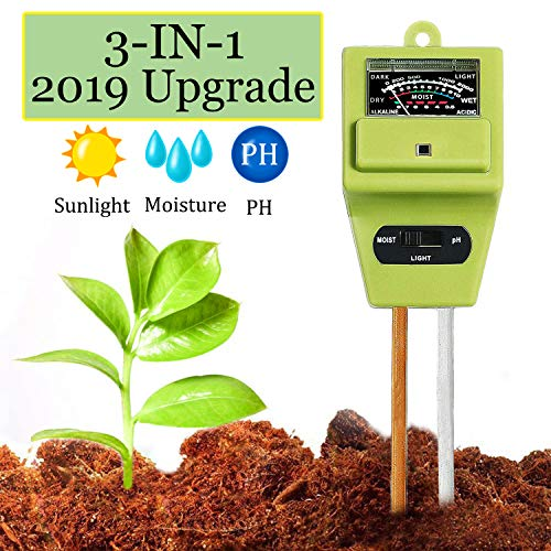 Swiser Soil Test Kit 3-in-1 Soil Tester with Moisture,Light and PH Meter, Indoor/Outdoor Plants Care Soil Sensor for Home and Garden, Farm, Herbs & Gardening Tools(No Battery Needed)