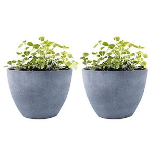 LA JOLIE MUSE Flower Pot Garden Planters Outdoor Indoor, Plant Containers with Drain Hole, Weathered Grey(11.3 Inch, Pack 2)