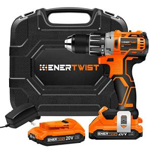 ENERTWIST Cordless Drill, 20V Max Brushless Power Drill w/2 Lithium-Ion Battery Packs and Charger, 442 In-lb Torque, 1/2'' Keyless Chuck, Variable Speed, 16 Position, Built-in LED, Carrying Box