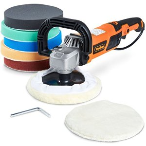 "Vonhaus Rotary Polisher Sander, Car Polishing Machine 10-Amp Electric 7"" Pad with Accessory Kit 6 Variable Speeds and 7 Pads to Buff, Polish, Smooth and Finish – 600-3000 RPM Ideal for Cars, Boats"