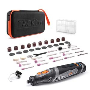 TACKLIFE Cordless Rotary Tool 8V Power 2.0 Ah Li-ion Battery with 43 Accessories and Shield Attachment, Long Endurance Power- Perfect for Sanding, Grinding, Cutting and Engraving -RTD02DC
