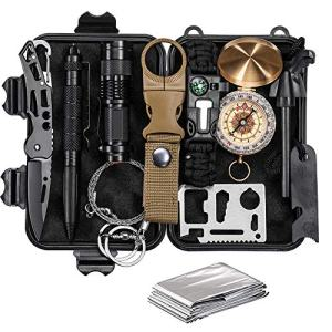 CQQKS Emergency Survival Kit, Survival Gear 12 in 1 Camping Hiking Tactical, for Men, Birthday Gifts Ideas for Him Husband Dad Boyfriend Teen Boys Brother
