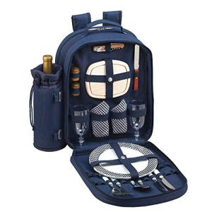 Picnic at Ascot Original Equipped 2 Person Picnic Backpack with Cooler & Insulated Wine Holder- Designed & Assembled in the USA