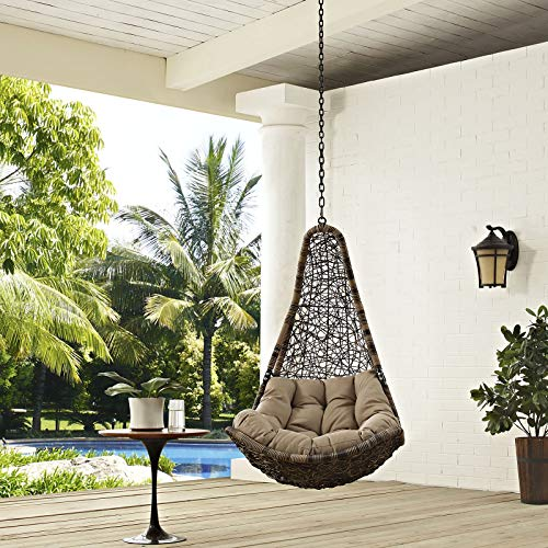 Modway EEI-2657-BLK-MOC-SET Abate Wicker Rattan Outdoor Patio with Hanging Steel Chain, Swing Chair Without Stand, Mocha