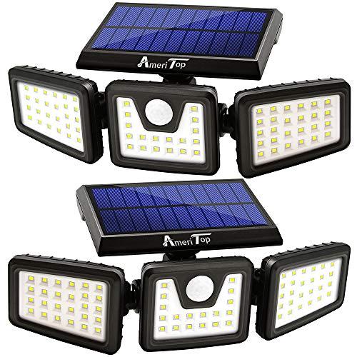 Solar Lights Outdoor, AmeriTop 800LM Wireless LED Solar Motion Sensor Lights Outdoor; 3 Adjustable Heads, 270° Wide Angle Illumination, IP65 Waterproof, Security LED Flood Light- 2 Pack