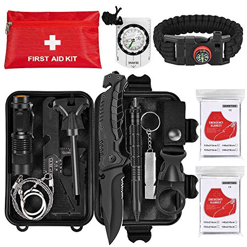 Napasa Emergency Survival Kit 54 in 1 Outdoor Survival Gear Tool and First Aid Kit, Survival Bracelet, Emergency Blanket, Compass, Multi-Purpose EDC Outdoor Gear for Camping Hiking Climbing