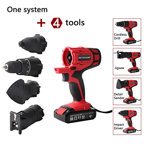 """GETUHAND Cordless Tools Combo Kit with Case, 20V Lithium Ion Power Tools Combo Kit, 4-IN-1 Tool-3/8"""" Cordless Drill/Driver,1/4"""" Impact Driver, Jigsaw and Detail Sander"""