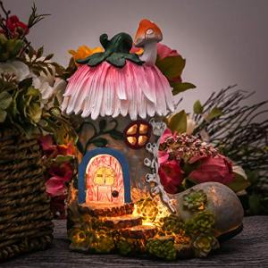 TERESA'S COLLECTIONS 8.8 Inch Garden Statues Fairy House - Boot, Solar Powered Garden Lights for Outdoor Patio Yard Decorations