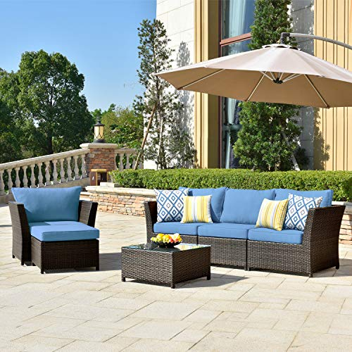 ovios Patio Furniture Set, Backyard Sofa Outdoor Furniture Pcs Sets,PE Rattan Wicker sectional with Pillows and Coffee Table, No Assembly Required (Navy Blue)